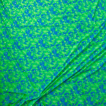 Holographic Silver Sequins on Neon Green and Turquoise Tie Dye Nylon/Spandex Fabric By The Yard - Wide shot