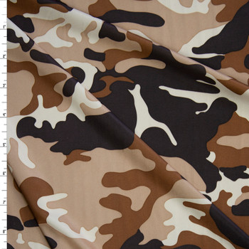 Brown, Caramel, Tan, and Ivory Camouflage Lightweight Stretch Knit Fabric By The Yard