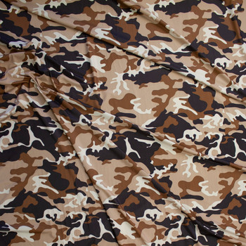 Brown, Caramel, Tan, and Ivory Camouflage Lightweight Stretch Knit Fabric By The Yard - Wide shot