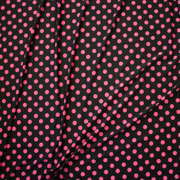 Hot Pink Polka Dots on Black Nylon/Spandex Fabric By The Yard - Wide shot