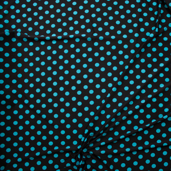 Aqua Polka Dots on Black Nylon/Spandex Fabric By The Yard - Wide shot