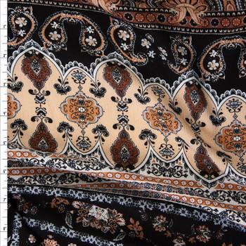 Brown, Tan, and Black Bohemian Rayon Gauze Fabric By The Yard