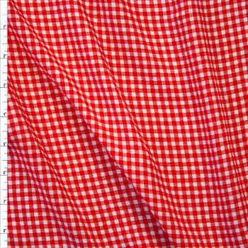 Red and White Gingham Rayon Gauze Fabric By The Yard