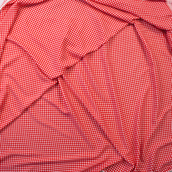 Red and White Gingham Rayon Gauze Fabric By The Yard - Wide shot