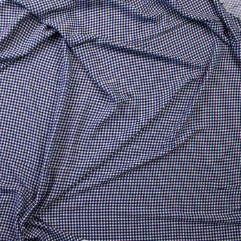 Navy and White Gingham Rayon Gauze Fabric By The Yard - Wide shot
