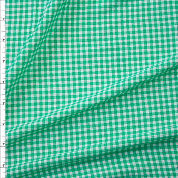 Green and White Gingham Rayon Gauze Fabric By The Yard