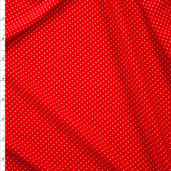 White Pin Dots on Red Rayon Gauze Fabric By The Yard