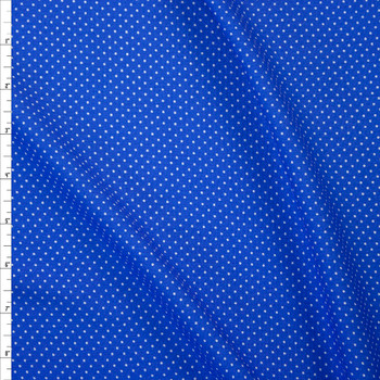White Pin Dots on Blue Rayon Gauze Fabric By The Yard