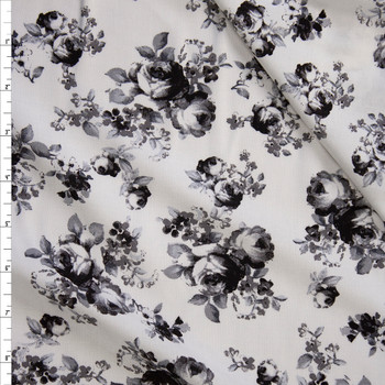 Black and Grey Roses on White Rayon Gauze Fabric By The Yard