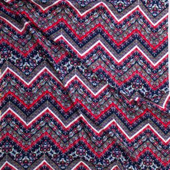 Red, White, and Blue Bohemian Chevron Rayon Gauze Fabric By The Yard - Wide shot
