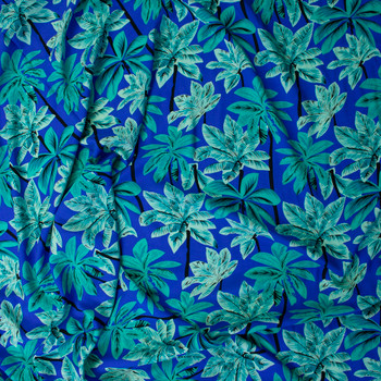 Mint and Seafood Palms on Royal Rayon Challis Fabric By The Yard - Wide shot