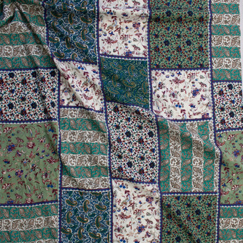Emerald and Ivory Floral Patchwork Rayon Challis Fabric By The Yard - Wide shot