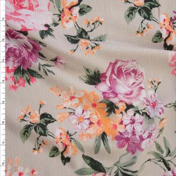 Peach, Pink, and Purple Rose Floral on Light Tan Rayon Gauze Fabric By The Yard