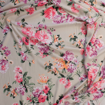 Peach, Pink, and Purple Rose Floral on Light Tan Rayon Gauze Fabric By The Yard - Wide shot