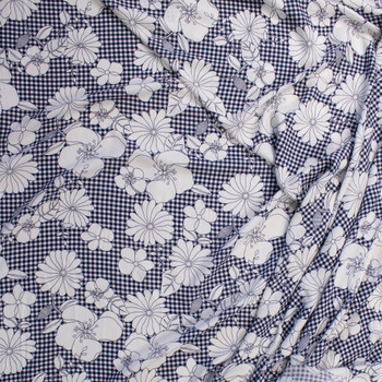 White Sketch Flowers on Navy Gingham Rayon Gauze Fabric By The Yard - Wide shot