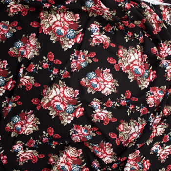 Red and Tan Rose Clusters on Black Rayon Gauze Fabric By The Yard - Wide shot