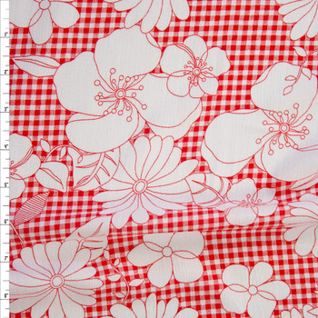White Sketch Flowers on Red Gingham Rayon Gauze Fabric By The Yard
