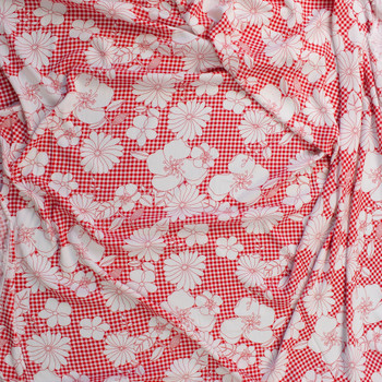 White Sketch Flowers on Red Gingham Rayon Gauze Fabric By The Yard - Wide shot