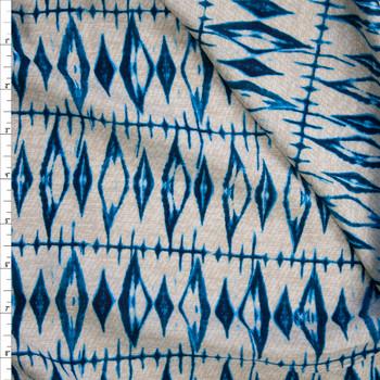 Teal and Ivory Grunge Diamonds Rayon Challis Fabric By The Yard