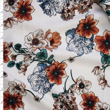 Rust, Peach, and Emerald Sketch Wildflowers on Ivory Rayon Gauze Fabric By The Yard