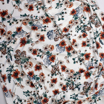 Rust, Peach, and Emerald Sketch Wildflowers on Ivory Rayon Gauze Fabric By The Yard - Wide shot