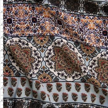 Tan, Grey, and Ivory Horizontal Boho Stripe Rayon Challis Fabric By The Yard