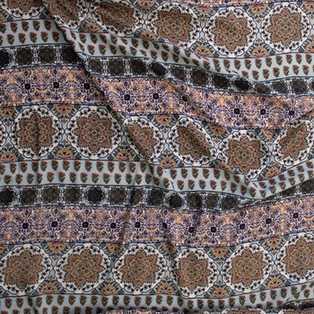 Tan, Grey, and Ivory Horizontal Boho Stripe Rayon Challis Fabric By The Yard - Wide shot