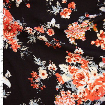 Red Orange, Ivory, and Grey Roses on Black Rayon Gauze Fabric By The Yard