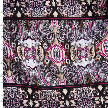 Hot Pink, Tan, and Black Boho Stripe Rayon Gauze Fabric By The Yard