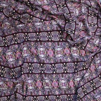 Hot Pink, Tan, and Black Boho Stripe Rayon Gauze Fabric By The Yard - Wide shot