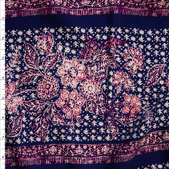 Ivory and Fuchsia Boho Floral Stripe on Navy Rayon Challis Fabric By The Yard