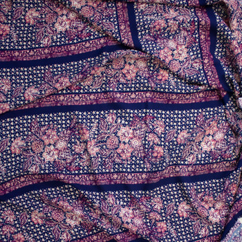 Ivory and Fuchsia Boho Floral Stripe on Navy Rayon Challis Fabric By The Yard - Wide shot
