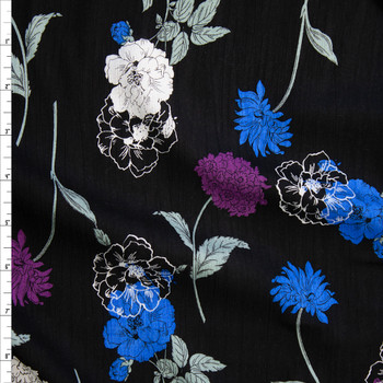 Blue and Purple Sketch Wildflowers on Black Rayon Gauze Fabric By The Yard