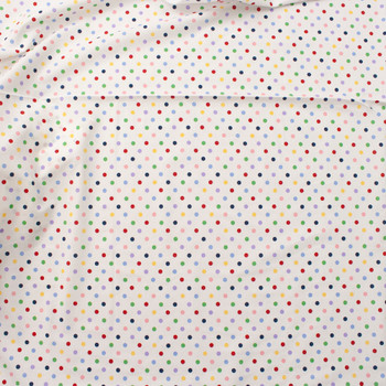 Multi Colored Polka Dots on White Quilter's Cotton Fabric By The Yard - Wide shot