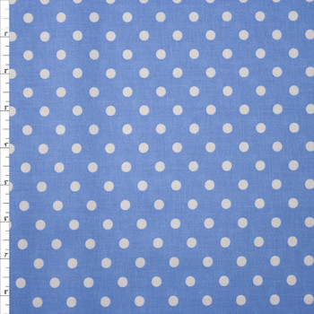 White on Light Blue Polka Dots Quilter's Cotton Fabric By The Yard