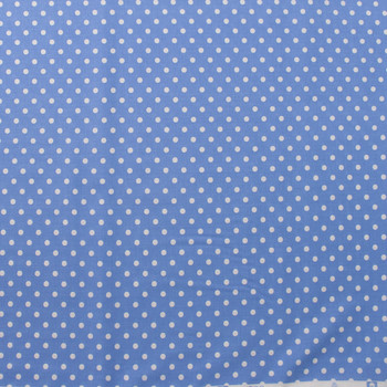 White on Light Blue Polka Dots Quilter's Cotton Fabric By The Yard - Wide shot