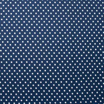 White on Navy Polka Dots Quilter's Cotton Fabric By The Yard - Wide shot