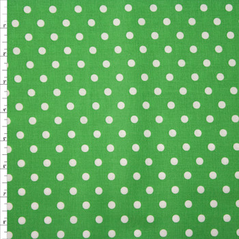 White on Green Polka Dots Quilter's Cotton Fabric By The Yard