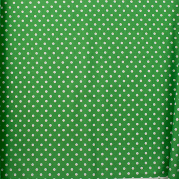 White on Green Polka Dots Quilter's Cotton Fabric By The Yard - Wide shot