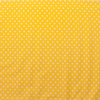White on Yellow Polka Dots Quilter's Cotton Fabric By The Yard - Wide shot