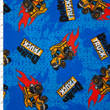 Dump Trucks on Blue Quilter's Cotton Fabric By The Yard