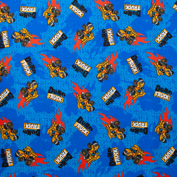 Dump Trucks on Blue Quilter's Cotton Fabric By The Yard - Wide shot