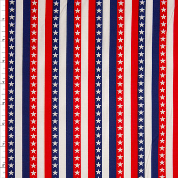 Patriotic Stripe Print 49688 Quilter's Cotton Fabric By The Yard