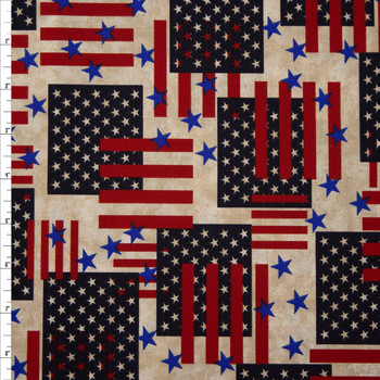 Patriotic Flag Print 49025 Quilter's Cotton Fabric By The Yard