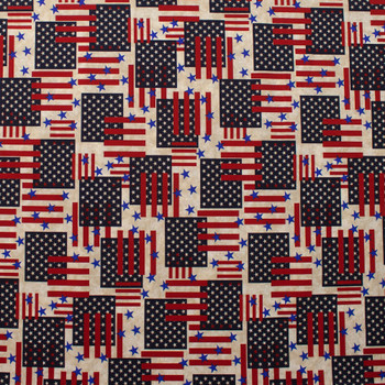 Patriotic Flag Print 49025 Quilter's Cotton Fabric By The Yard - Wide shot
