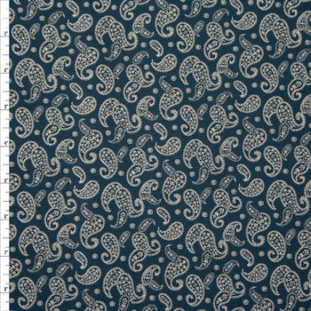 Ivory Paisleys on Navy Quilter's Cotton Fabric By The Yard