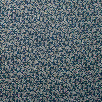 Ivory Paisleys on Navy Quilter's Cotton Fabric By The Yard - Wide shot