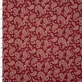 Ivory Paisleys on Burgundy Quilter's Cotton Fabric By The Yard