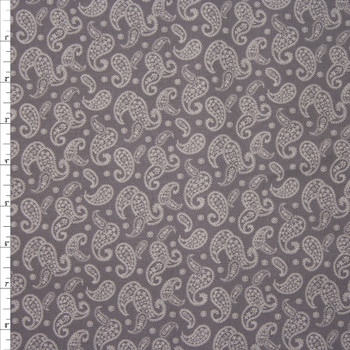 Ivory Paisleys on Grey Quilter's Cotton Fabric By The Yard