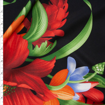 Red, Orange, and Green Hawaiian Floral on Black Scuba Knit Fabric By The Yard